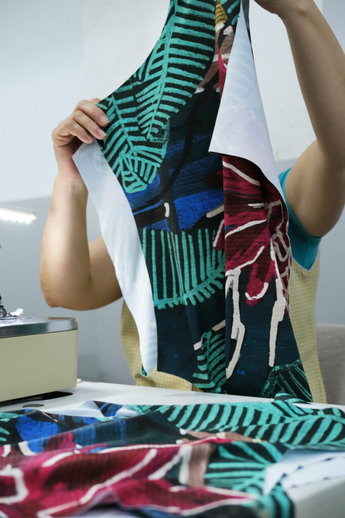 Oy surf bikini production with printed recycled polyester